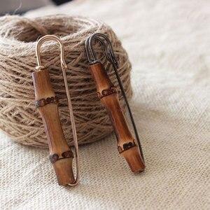 Pin de bambú en forma de U para traje, broche de Metal para ropa, joyería, broches de seguridad, gran oferta, novedad