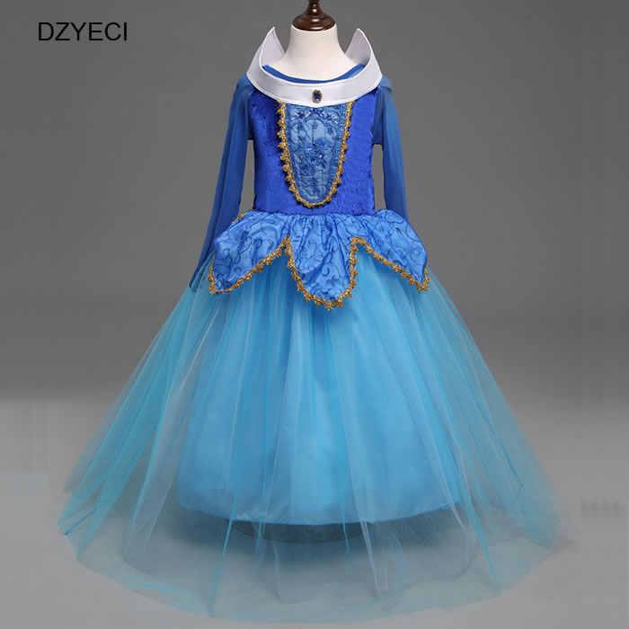 1bb67d4b3 2018 Aurora Cosplay disfraces de Carnaval para niñas vestido de Pascua  durmiente belleza adolescente niños tutú encaje princesa vestido de fiesta