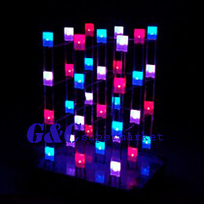 <font><b>4X4X4</b></font> Light <font><b>Cube</b></font> Kit shield <font><b>LED</b></font> DIY suite Kit Red Blue