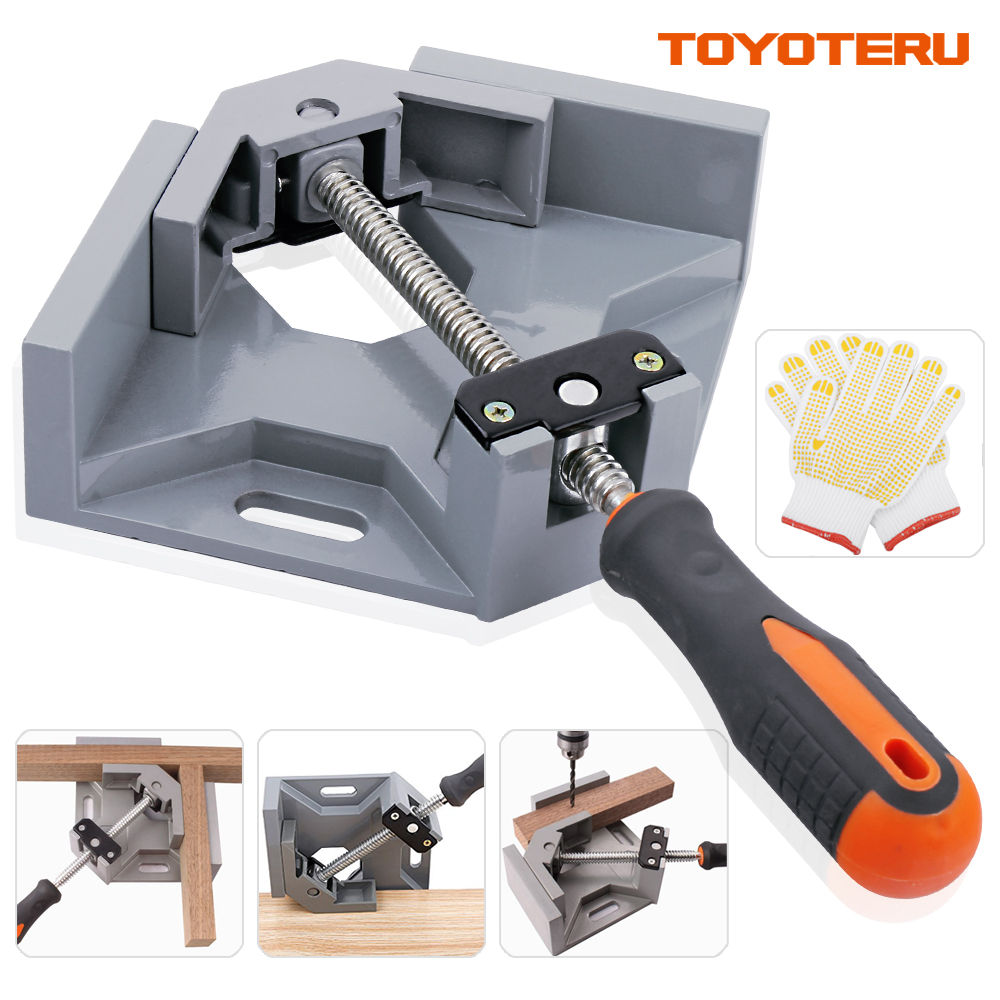 Aluminum Single Handle 90 Degree Right Angle Clamp Angle Clamp Woodworking Frame Clip Right Angle Folder Tool with Gloves