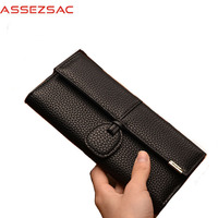 Assez Sac PU Leather Women Wallets Popular Fashion Lady Concise Girls Versatile Wallet Women Solid String