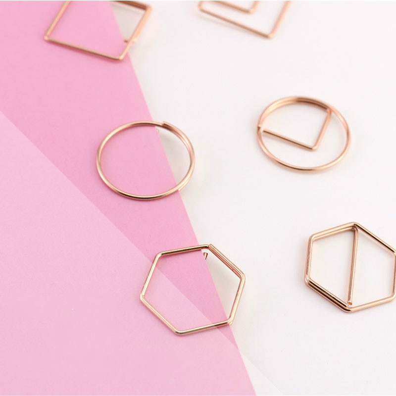 Exclusive Geometric Shape Rose Gold Clip Electroplating Creative Styling Hand Account Decoration Office Accessories Paper Clips