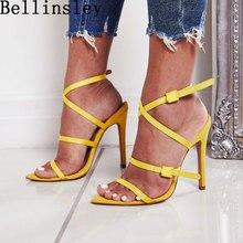 e4bb0fe7681f8c Été jaune femmes chaussures bout ouvert Cross Strappy gladiateur talons  hauts femmes sandales Sexy femme chaussures