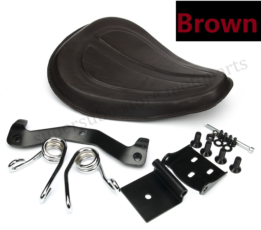 Motorcycle Brown Large Solo Seat + Brackets Spring For Harley Forty Eight Iron 883 Sportster 1200 883