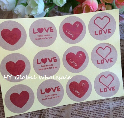 120PCS/lot Vintage Romatic Love Heart series Round Kraft paper Sticker for Handmade Products Gift sealing packaging label