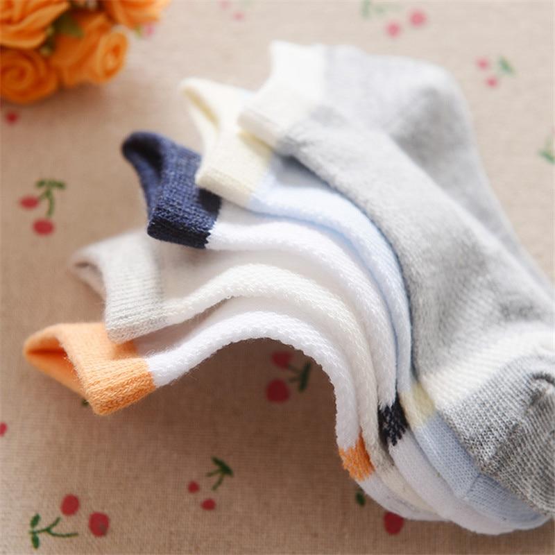 0-12Years Children Socks Summer Mesh Breathable Baby Boys Sport Sock 5pairs/Lot Stripe Cotton Girls Ankle Hose Anklets Kids Sox 7