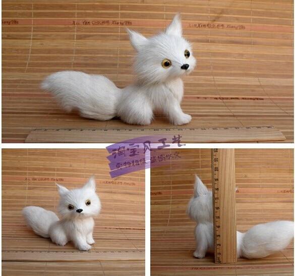 mažas mielas baltas lapės žaislo modeliavimas lapės lėlės apdailos lėlės dovanų žaislas apie 13 * 5 * 11cm 2107