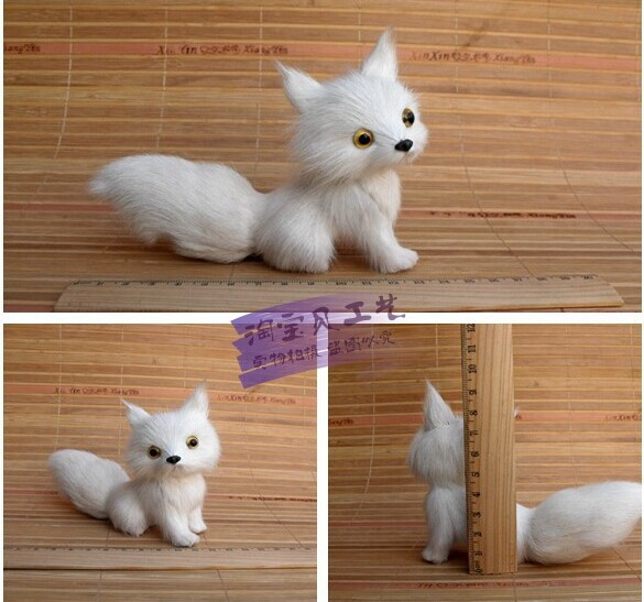 малка сладка бяла лисица играчка симулация на лисица кукла декорация кукла подарък играчка около 13 * 5 * 11cm 2107