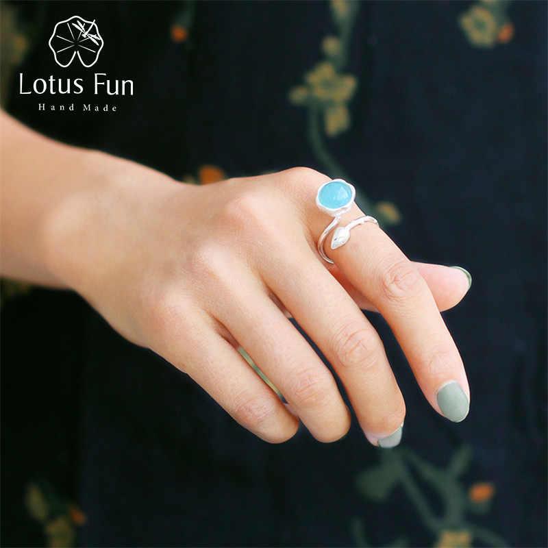 Lotus สนุกจริง 925 เงินสเตอร์ลิงหินธรรมชาติ Handmade Designer Fine เครื่องประดับ Elegant Lotus Buds แหวน