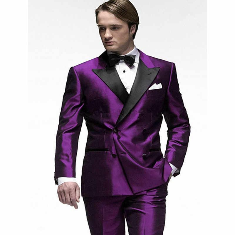 紫色の男性スーツレギュラーフィットセットカジュアルブレザーマンスーツタキシードファッションメンズウェディングウエディング衣装マリアージュオム(ジャケット+パンツ)