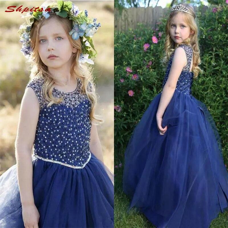 Navy Blue   Flower     Girl     Dresses   for Weddings Evening Flowergirl First Communion Pageant   Dresses   for Wedding   Girls