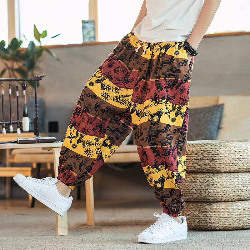 2019 Summer Striped Lantern Pants Men's Cotton Loose Chinese Style Seven Points Beach Harlan Casual Hip Hop Sweatpants