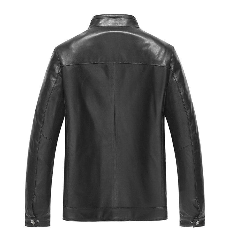 Neue Marke Kleidung Black Schaffell Aibianocel Luxury Sheepskin Casual Männliche Männer Lederjacke Stehkragen Echte 100 Stil 606 w5dpqd