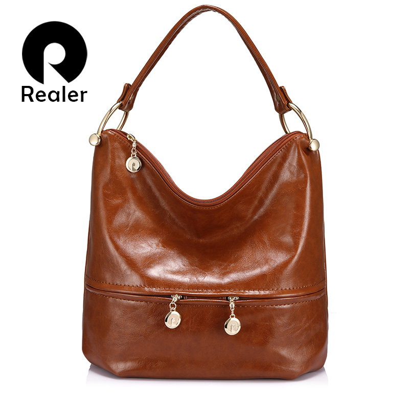 REALER Luxury Women Handbags High Quality Female Shoulder Bag PU Leather Ladies Large Totes Hobo Zipper Fashion Top-handle Bags