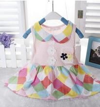 2017 Baby clothes Summer new baby girl dress princess dress baby vest plaid dresses XC2029