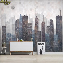 beibehang custom Nordic retro minimalist TV sofa background wall papers home decor 3D painting city wallpapers for living room(China)