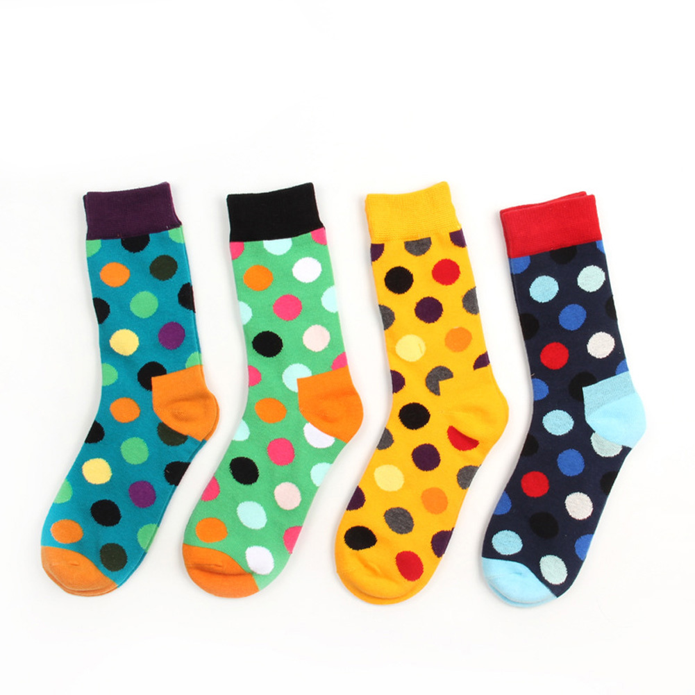 Giraffita New Cotton Hit Color Polka Dot Casual Socks for Men Happys Socks Summer Style Candy Colored Dress Soks 8 colors