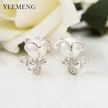 YEEMENG Kitten Shape Imitation Pearl  Earrings for Women Cute Ear Stud  Elegant  Earrings Chic Jewelry Xmas Gift