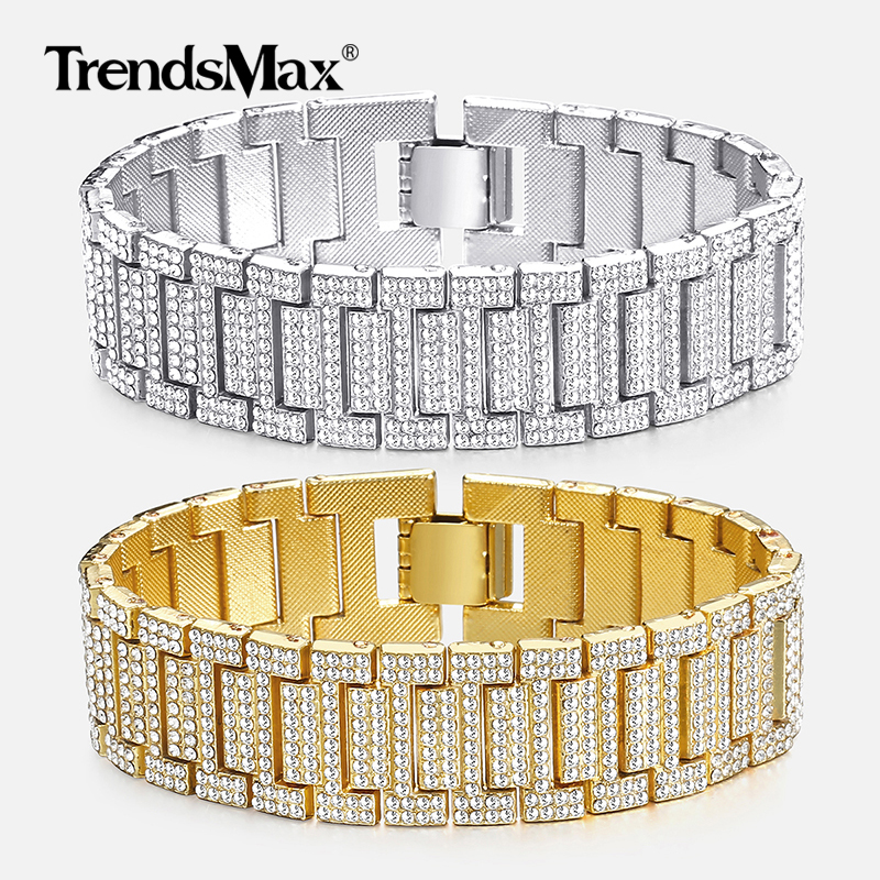 Big Hip Hop Bracelet For Men Iced Out Silver Gold Miami Link Chain Bracelet Wristband Male Jewelry Gift Dropshipping 21mm GBM103Big Hip Hop Bracelet For Men Iced Out Silver Gold Miami Link Chain Bracelet Wristband Male Jewelry Gift Dropshipping 21mm GBM103