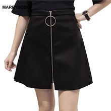 fe9907fb03 2019 Otoño e Invierno de las mujeres falda de cintura alta Streetwear de  cuero de la PU falda mujer Sexy cremallera Mini Faldas .