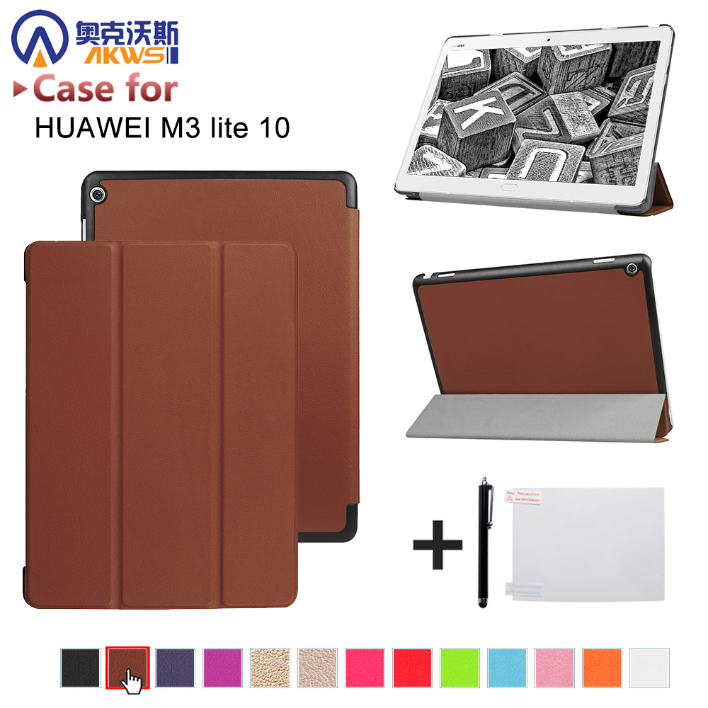 Case For Huawei MediaPad M3 lite 10 Covers Sleeve Protective Protector Leather PU M3 Youth Edition BAH-W09 BAH-AL00 Tablet cases crystal protective case for nds lite