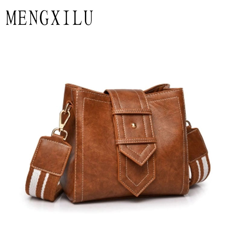 MENGXILU 2018 Korean Bucket Crossbody Bags For Women Bags Handbags Women Famous Brands 2 Shoulder Straps Pu Leather Shoulder Bag