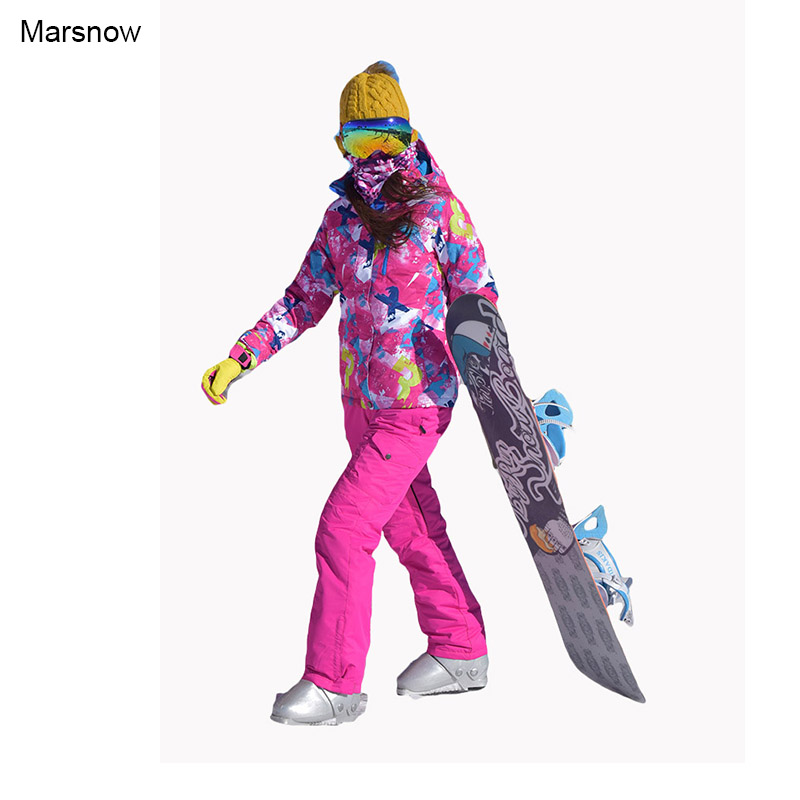 Marsnow Brand Women Winter Sport Ski Suits Sets Waterproof Windproof Thicken Coats Warm Snowboarding Skiing Jacket and Pant men and women winter ski snowboarding climbing hiking trekking windproof waterproof warm hooded jacket coat outwear s m l xl