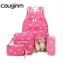 COUGINM Frauen Rucksäcke Für Teenager Mädchen Umhängetasche Federmäppchen 4 Stücke Set Kaninchen Leinwand Schultaschen Leinwand kinder tasche