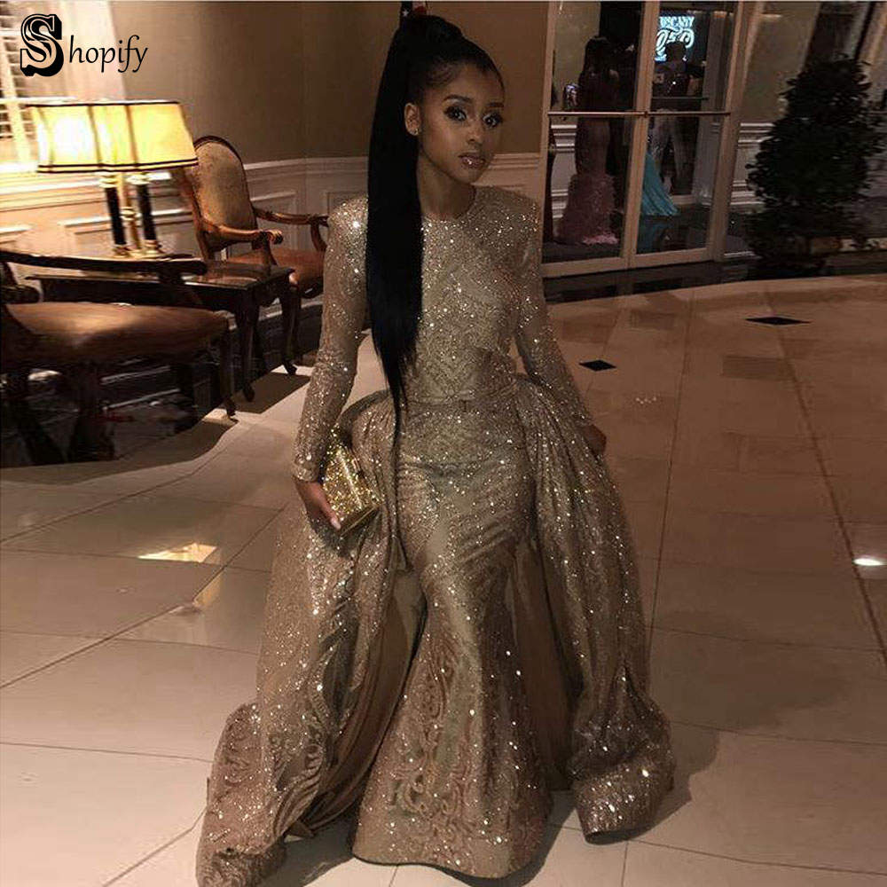Long Sparkly   Prom     Dresses   2019 Glitter Sexy Mermaid Long Sleeve Golden African Two Piece Women   Prom     Dress   With Detachable Train