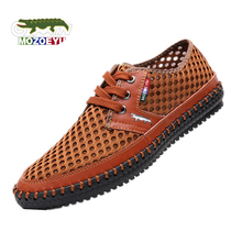 New 2016 Summer Genuine Leather Breathable Mesh Men Casual Shoes Fashion Handmade Outdoor Sport Driving Walking Chaussures Homme