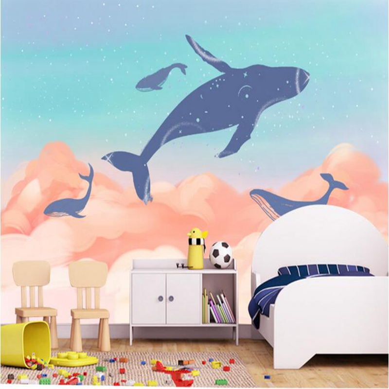 3d Wallpapers Cute Cartoon Whale Underwater Animal Hand Painted Children Room Contact Paper Minimalist 3d Wallpaper Living Room