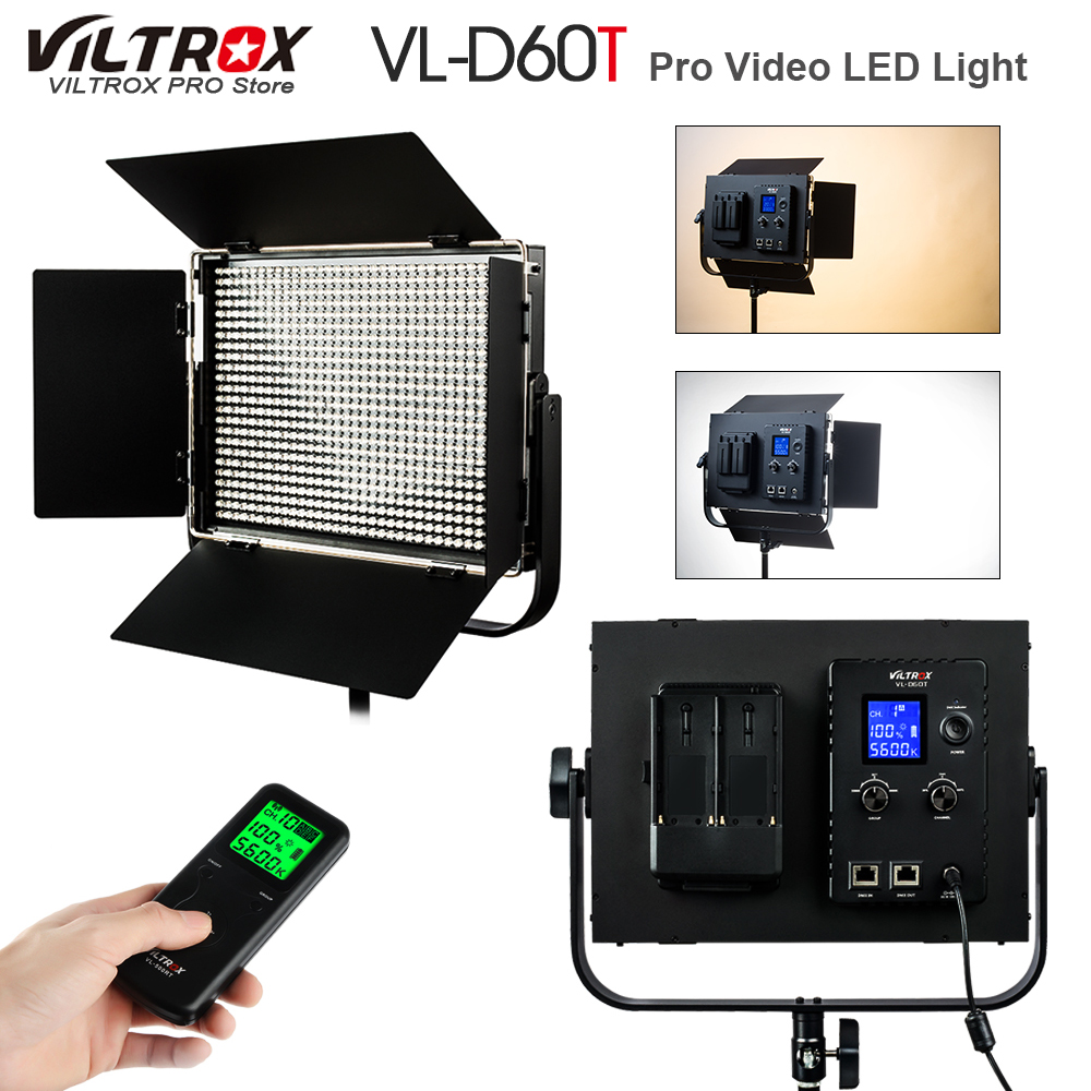 Viltrox VL-D60T Pro 60W Wireless Remote Studio Video LED Light Bi-Color & Dimmable +DC Power Adapter for Photography Interview viltrox vl 200 pro wireless remote led video studio light lamp slim bi color dimmable ac power adapter for camcorder camera