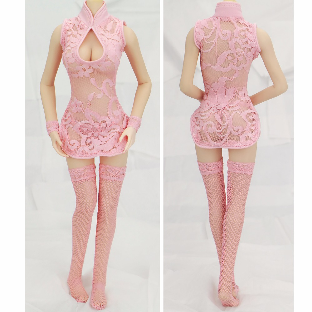 In Stock 1/6 Scale Female Pink Sexy Cheongsam Stockings