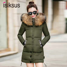 Isiksus Padded Winter Jacket Women Long Plus Size Black Female Coat 2018 Hooded Fur Coats And Jackets Parkas 4XL for Women WP016 black fur hooded lace up thickened padded coat