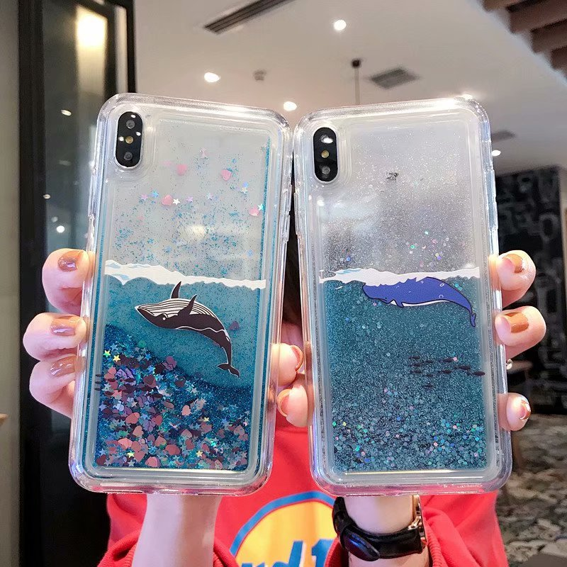 Moving glitter whale unicorn case for