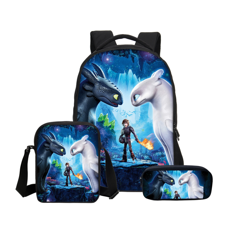 3Pcs Set Backpacks Cartoon How To Train Your Dragon Black White Fury 3D Printing School Bags