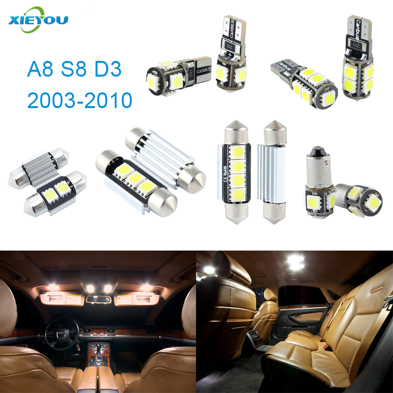 XIEYOU 22pcs LED Canbus Interior Lights Kit Package For Audi A8 Quattro S8 D3 (2003-2010) 17pcs led canbus interior lights kit package for bmw 5 series e60 e61 2004 2010