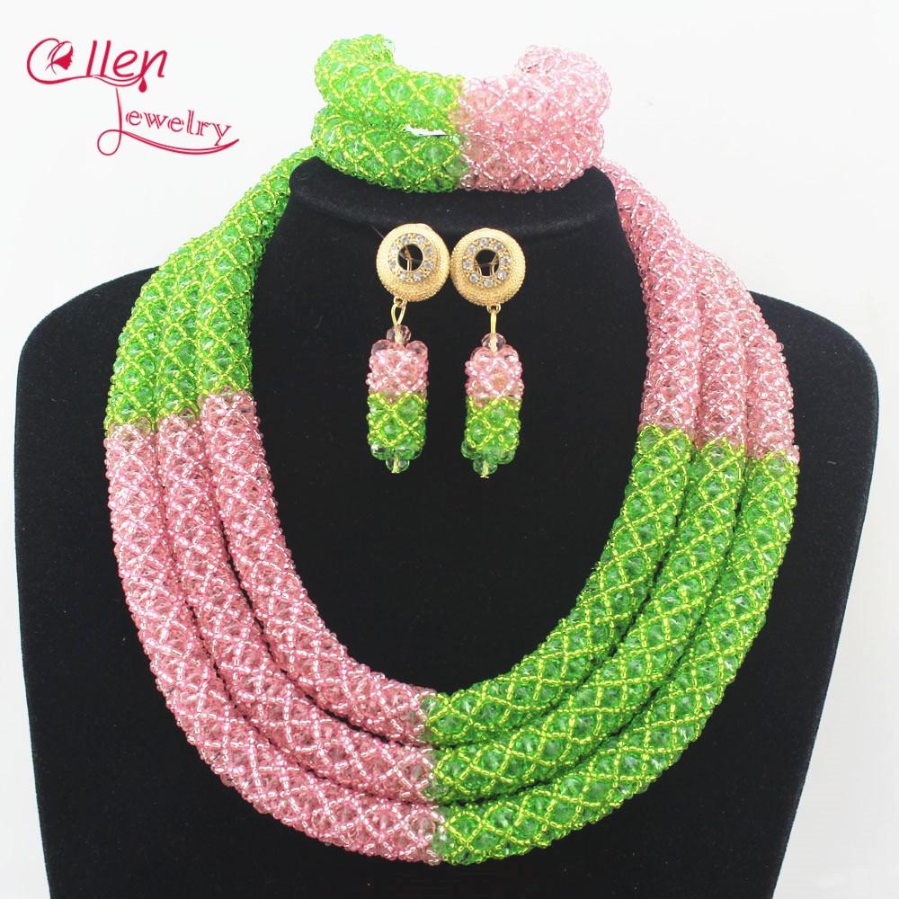 Fashion Nigerian Wedding Bridal jewelryAfrican Beads Jewelry Set Handmade Indian Dubai costume Necklace Bracelet Earrings N0005