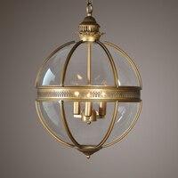 Кованые Стекло абажур подвесной светильник творческая личность Винтаж ресторан кафе Американский Гостиная подвесной светильник