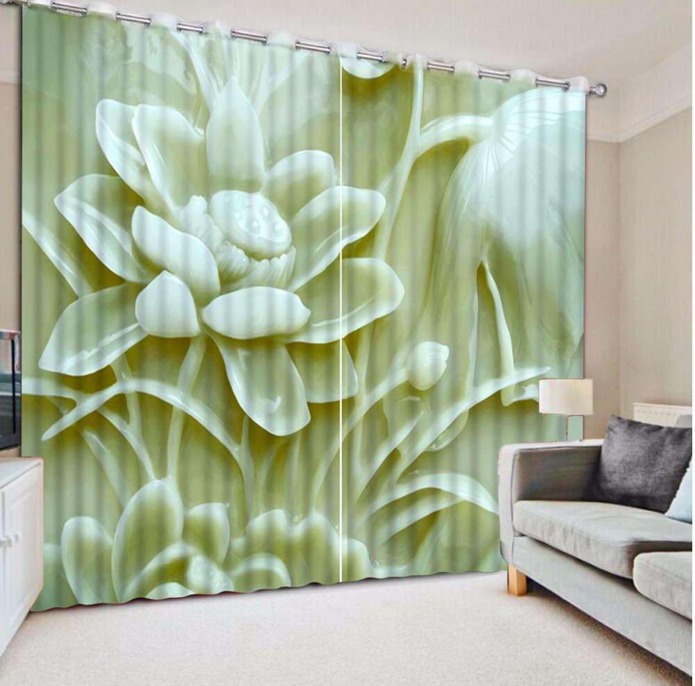 Classic Home Decor 3D Curtain Jade Carving Lotus Curtain Home Bedroom Decoration Blackout Shade Window Curtains