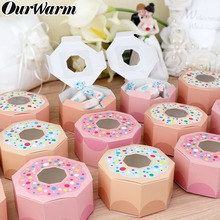 OurWarm 20/50pcs Pink Donut Candy Box Party Kids Birthday Boxes Baby Shower Wedding kraft Gift with Window