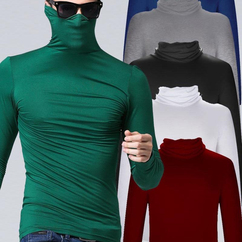 Hombres modal de cuello alto de manga larga T-shirt primavera 2019 nuevo estudiante de otoño popular delgado delgado elástico camisa básica adolescente chicos