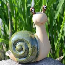 ceramic garden green Smiling snails home decor crafts room decoration handicraft ornament porcelain figurines garden decoration недорого