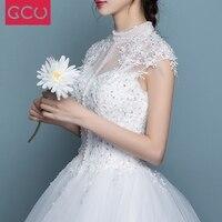2017 New Design Ball Gown High Neck Wedding Dress Cap Sleeve Modest Winter Wedding Gowns Bride
