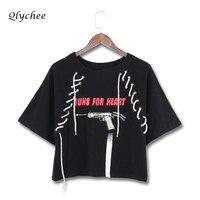Qlychee Street Style Gun Print T Shirt Women Summer Tops Lace Up Black White Harajuku Female