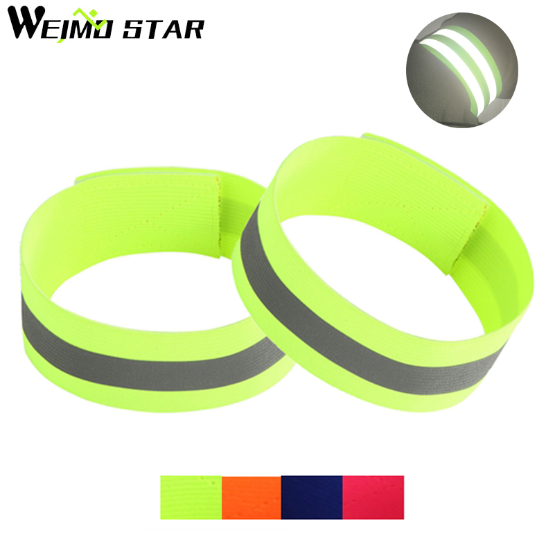 Weimostar 1 Pair Cycling Bands Reflective Strip Warning Bike Safety Tape Outdoor Bicycle Bind Pants Band Leg Strap Wristband