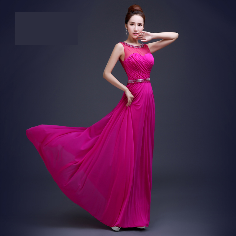 Nuevo rojo de la rosa dulce de la perla vestido de noche largo ...