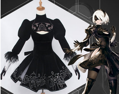 hot Sale  game NieR Automata 2B full set cosplay costume Faux Suede high quality dress  Cosplay Costume