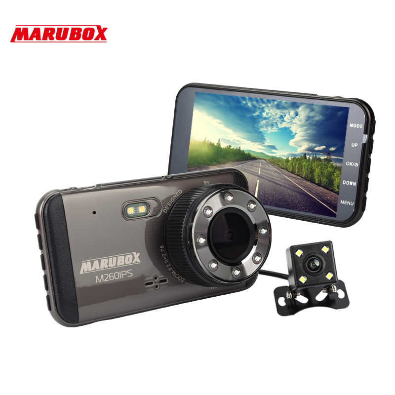 MARUBOX M260IPS Car DVR Dash Camera Full HD 1920x1080 Dual Lens Dashcam With Rearview Camera For
