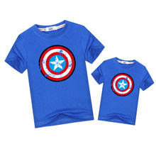 ec194508d Pentagram Shield Father Son Match outfits Captain America Dad kids t-shirt  Family matching clothes